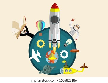 Space theme vector illustration cartoon cute astronout characters. Rocket,characters, space yellow submarine.