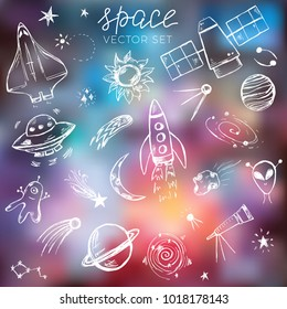 Space themed doodle set. Planets, stars, aliens, spaceship and other cosmic objects on the blurred galaxy background
