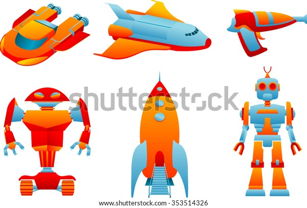 Space Toysset Varied Futuristic Modern Themed Stock Vector Royalty Free 353514326