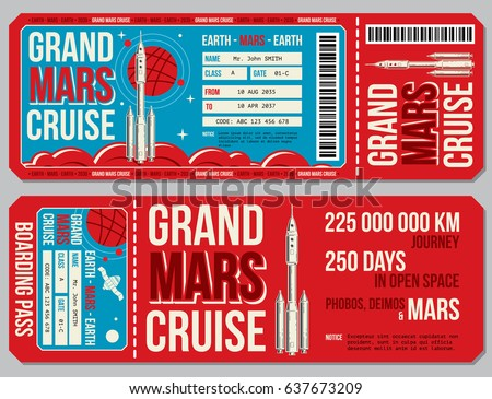 Space Travel Boarding Pass Vector Template Stock Vector Royalty
