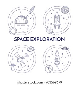 Space travel and exploration banners set with thin line cosmos related elements. Vector illustration.