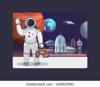 Space travel, galaxy and cosmos, tours to the moon vector illustration. Astronaut with suitecase waving in outer space on moon. Spaceships and planets of Mars, earth, moon space travel.