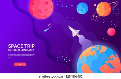 Space trip from the Earth to Mars and other planets vector flat template illustration