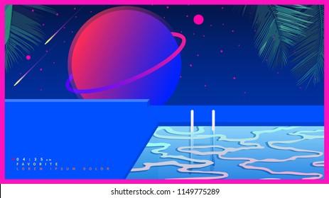 Space tropical pool. futuristic vaporwave minimal illustration background