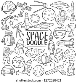 Space Univers Traditional Doodle Icons Sketch Hand Made Design Vector