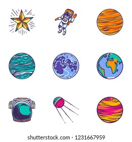 Space universe icon set. Hand drawn set of 9 space universe vector icons for web design isolated on white background