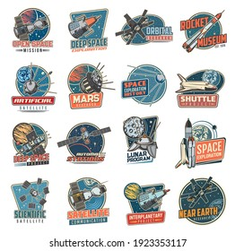 Space vector retro icons mars mission, rocket museum and near earth orbital station, moon program, artificial satellite and deep space exploration. Scientific research and shuttle project labels set