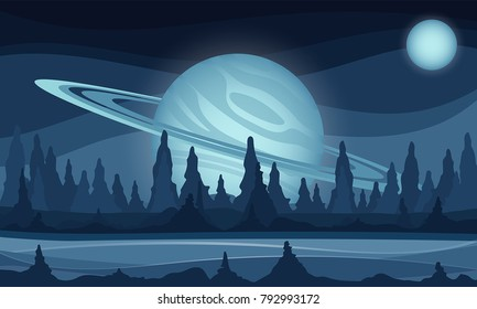 Space vector sci-fi background, gas giant in the sky illustration, fantastic alien landscape.