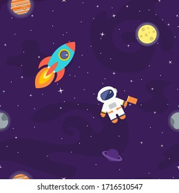 Space vector seamless pattern. Kids outer space background. Flat cartoon rocket, astronaut, stars, black hole, galaxy creative cute print collection.