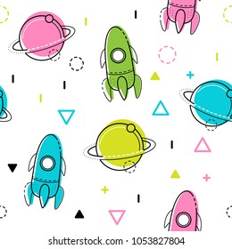 Space vector seamless pattern. Multicolored background