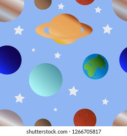 Space vector seamless pattern with planets and stars.