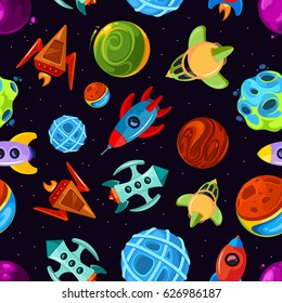 Space vector seamless pattern with spaceships, stars, planet and rockets, childrens fantastic background. Rocket and planet in space, seamless pattern with spaceship and color planet illustration