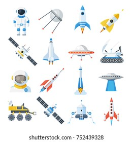Space vehicle set. Rocket-powered vehicle with satellites, spacecraft transport. Vector flat style cartoon illustration isolated on white background
