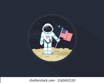 Space walk on lunar surface. USA astronaut explored the moon and sets american flag. Vector flat illustration.