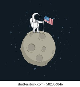 Space walk on lunar surface . USA astronaut explored the moon and sets american flag.Cartoon vector illustration.Childish style