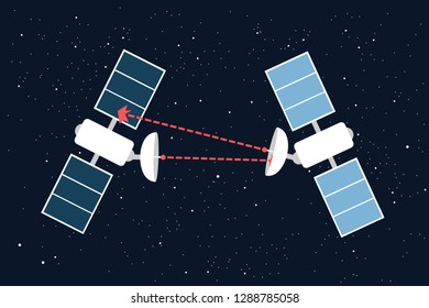 Space war - military armed conflict between two satellites - confrontation and offensive attack and assault in the cosmos and on the orbit. Vector illustration