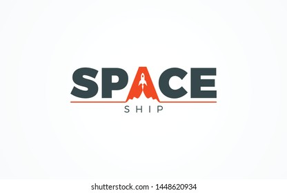 SPACE Wordmark logo forms a spcae ship in letter A