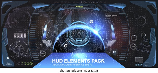 Spacecraft control panel dashboard in HUD style. View from the cockpit spaceship. Head-up display elements. Template UI for app and virtual reality. Abstract virtual graphic touch. Vector illustration