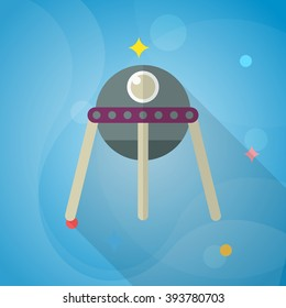 Spacecraft flat icon with long shadow,eps10,