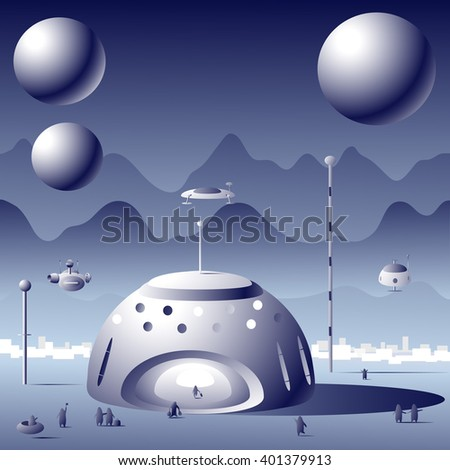Spacecraft Future On Planet Mars Going Stock Vector Royalty Free