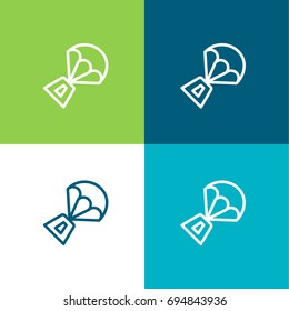 Spacecraft green and blue material color minimal icon or logo design