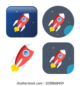 spacecraft icon - vector rocket - spaceship icon -
