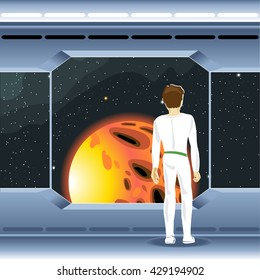 Spacecraft interior view and window to space and sun. Cosmonaut looking to another planet. Digital vector image.