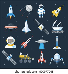 Spacecraft shuttle exploration. Fly in outer space vehicle and machine, astronomy station. Vector flat style illustration isolated on starry sky background