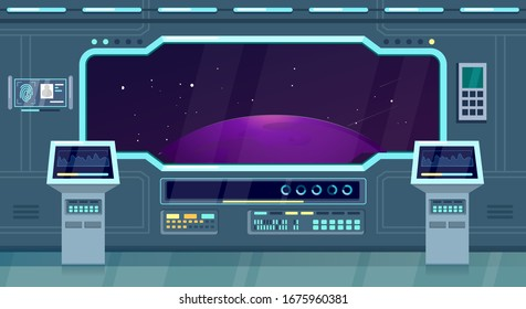 Spacecraft, shuttle or ship interior flat vector illustration game background. Space travel future