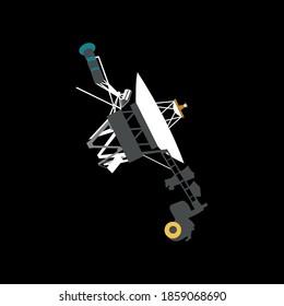 spacecraft Voyager 1 in cartoon style 2d. vector