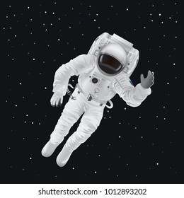 Spaceman in modern pressure suit out in space among shiny stars in dark sky cartoon flat vector illustration. Equipped cosmonaut in zero gravity.
