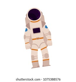Spaceman in space suit, astronaut in silver white uniform isolated icon. Flat cosmonaut illustration, cosmos, universe and anstronomy exploration symbol. Vector illustration