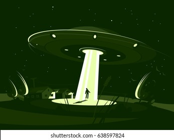 Spaceship abducts man