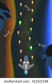 Spaceship in action, computer game concept, arcade game in space