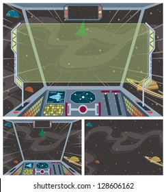 Spaceship Backgrounds: 3 cartoon spaceship backgrounds. No transparency and gradients used.