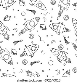 spaceship black and white pattern illustration vector.