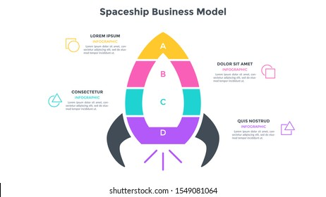 Spaceship business model divided into 4 colorful parts or levels. Concept of four stages of startup project launch. Flat infographic design template. Simple vector illustration for presentation.