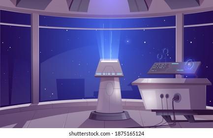 Spaceship control center, captain cabin interior with datacenter hud panel and large windows cosmos view. Futuristic alien orlop, cockpit in spacecraft, interstellar rocket Cartoon vector illustration