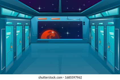 Spaceship corridor with closed doors and big window or viewport. Vector cartoon background futuristic interior room. Space outside. Cosmos vector game