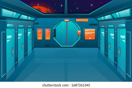 Spaceship corridor with closed doors. Vector cartoon background futuristic interior room. Space outside. Cosmos vector game