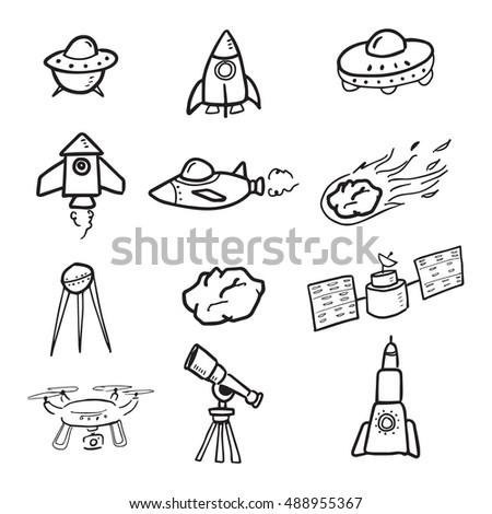 spaceship cosmos cartoon drawing vector set のベクター画像素材