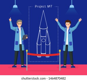Spaceship design project vector illustration. Cheerful engineers presenting space rocket draft cartoon characters. Space exploration experts, researchers  showing experimental spacecraft