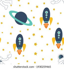 Spaceship elements seamless pattern graphic. Can be used for wallpaper, textile, background, card, backdrop, and another creative project