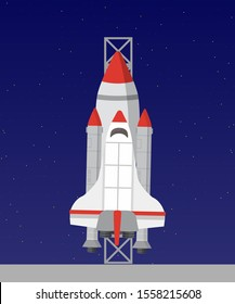 Spaceship flat vector illustration. Cosmic aircraft on blue background. Extraterrestrial transport design idea. Universe exploration rocket clipart drawing. Shuttle launch countdown