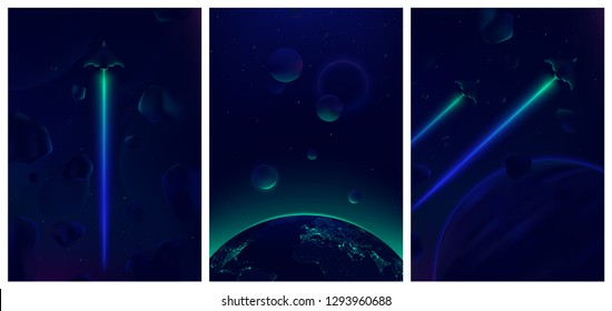 Spaceship flying in deep space with meteorites in the background, Fantastic view of the Earth from space, Neon glowing vector illustration for your design