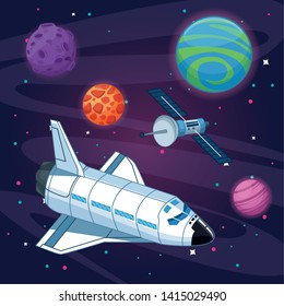 Spaceship flying in the milkyway galaxy vector illustration graphic design