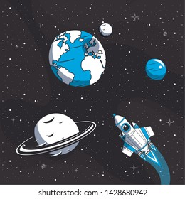 Spaceship flying in the milkyway passing by saturn earth and neptume planets vector illustration graphic design