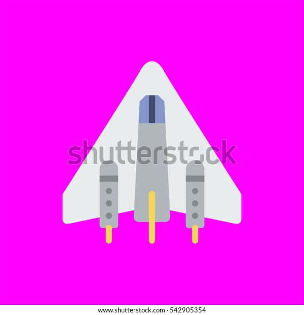 spaceship icon flat disign