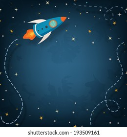 Spaceship illustration with space for your text in cartoon style