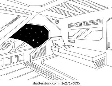 Spaceship interior cabin graphic black white sketch illustration vector